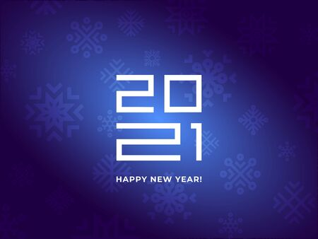 Greetings card blue color with snow and 2021 numbers. Shine and light on the dark background. Vector. Happy New Year 2021 logo text design. Vector modern minimalistic text with numbers.