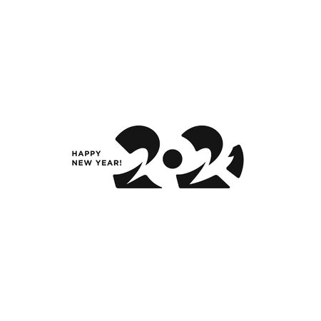 2021 logo text design. Happy New Year. Vector perfect modern minimalistic text with black numbers. Isolated on white background. Concept design.