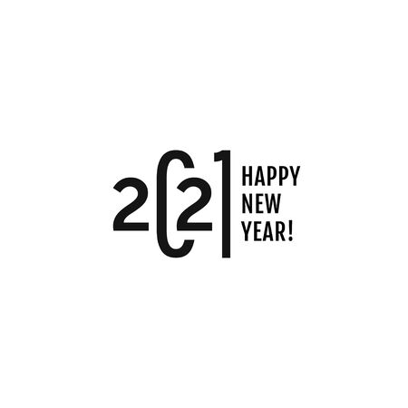 Simple, clean and delicious 2021 logo text design. Happy New Year. Vector modern minimalistic text with black numbers. Isolated on white background. Concept design. The Year Of The White Metal Bull.