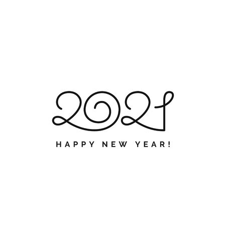 Happy New Year 2021 logo text design. Vector elegant modern minimalistic text with black numbers. Isolated on white background. Concept design.