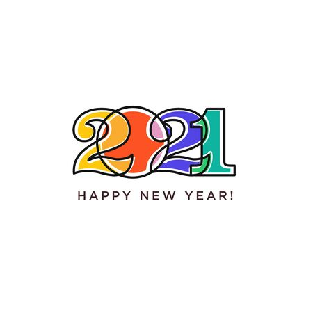 Happy New Year 2021 logo text design. Logotype of the year. Vector modern minimalistic text with colorful numbers. Conceptual cheerful youth bright explosive design. Emblem for card print social media Vectores