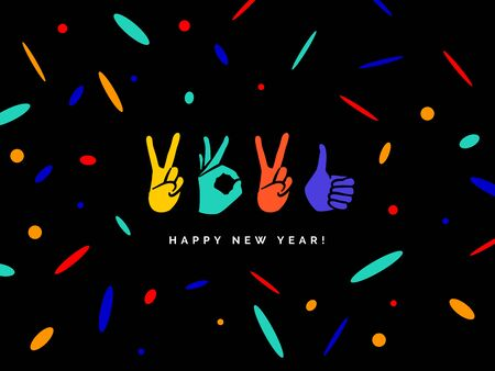 Happy New Year 2021 logo text design. Concept design with fingers. Sign of Victory and sign of OK. Freedom, good, peace, excellent, Like. Best wishes. Great ides. Color elements Illustration