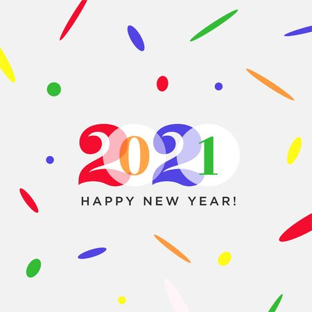 Happy New Year 2021 colorful logo. Vector modern minimalistic text with numbers. Conceptual cheerful youth bright design. Colored numbers. Emblem, symbol for postcard, print, social media.