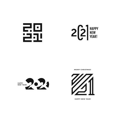 Set of 2021 logo text design. Vector elegant modern minimalistic text with black numbers. 2021 number design template. Concept design. Big collection of Happy New Year signs.