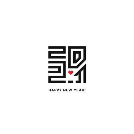 Happy New Year 2021 logo text design. Vector perfect modern minimalistic text with black numbers. The sign of the heart. Isolated on white background. Concept design.