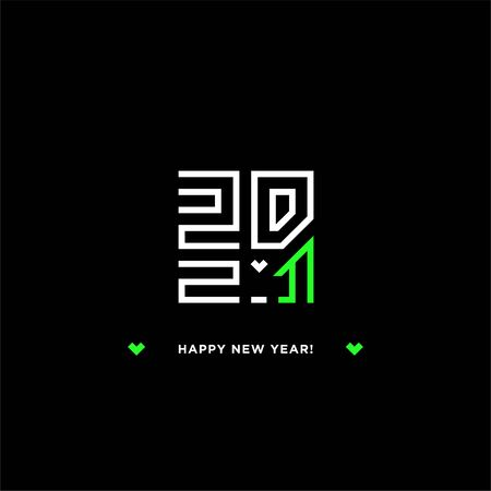 Happy New Year 2021 logo text design. Vector modern minimalistic text with white and green neon numbers. The sign of the heart. Isolated on black background. Concept design. White Metal Bull.