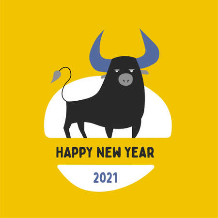2021 logo design. Metal ox horoscope sign. New year symbol. Chinese horoscope sign. Color cute buffalo head logo, abstract bull head logo vector.