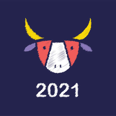 2021  design. Metal ox horoscope sign. New year symbol. Chinese horoscope sign. Color cute buffalo head , abstract bull head vector.