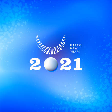 Greetings card blue color with snow, horn of bull and 2021 numbers. Vectores