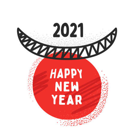 Bull horns with the text Happy new year 2021. Ox 2021. Concept design. The Year Of The White Metal Bull. Black and red. Vectores