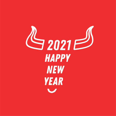 Flat bull icon sign 2021. Bull design template. Bull horns with the text Happy new year. Vectores