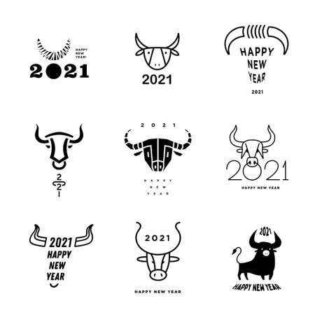 Big collection of 2021 Happy New Year signs. Set of 2021 Happy New Year symbols. Greeting card artwork, brochure template.