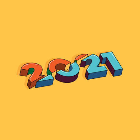 Sliced 2020 and 2021 years numbers. Logotype of the 2021 year. Happy New Year. 3D text on yellow background. Conceptual cheerful youth bright explosive design. Cut 3D text logo symbol.