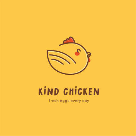 Kind Chicken logo concept. Cute cartoon laying hen. Logo template for poultry farm. For restaurant or cafe menu, packaging, butcher shops and chicken farm. Fresh eggs every day slogan.