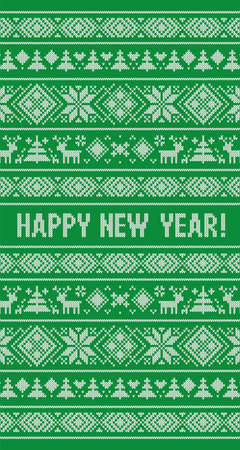 Happy New Year 2021 knitted pattern. Scandinavian style with deer, snowflakes, fir. Design for sweater, wallpaper, greeting card. Knitting effect background. Green and white colors. Vertical Ilustrace