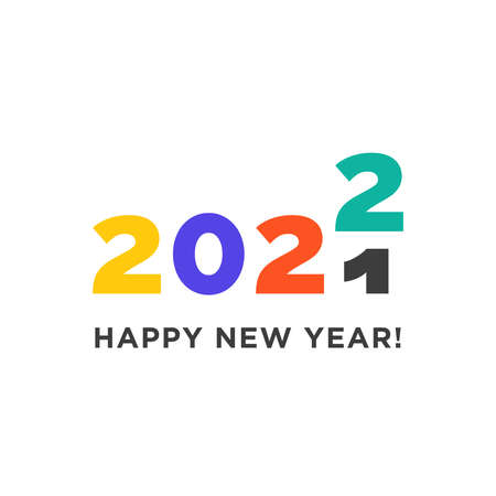 Happy New Year 2022 logo text design. Transition from 2021. Logotype of the year. Vector modern minimalistic text with colorful numbers. Emblem for card print social media