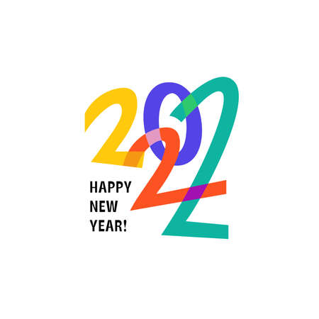 Happy New Year 2022 logo text design. Logotype of the year. Vector modern minimalistic text with colorful numbers. Conceptual cheerful youth bright explosive design. Emblem for card print social media