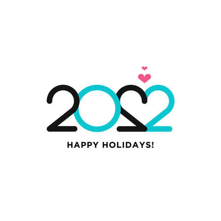 2020 Logotype of the year. Vector modern minimalistic text with colorful numbers. Conceptual design. Vector perfect modern minimalistic text with black numbers. Isolated on white background. Love sign