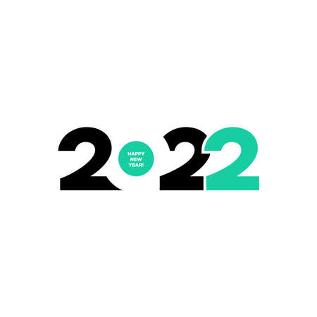 2020 Logotype of the year. Vector modern minimalistic text with green numbers. Conceptual design. Vector perfect modern minimalistic text with black numbers. Isolated on white background.