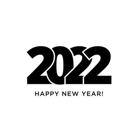 Happy New Year 2022 logo text design. Vector modern geometric minimalistic text with black numbers. Isolated on white background. Concept design. The Year Of The Black Water Tiger