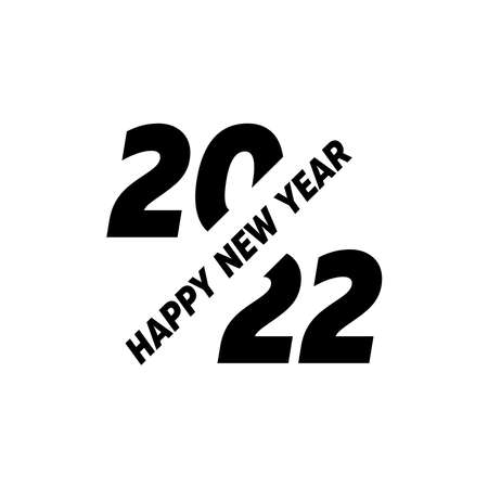 2022 logo icon sign text design. Happy New Year. Vector perfect modern minimalistic text with black numbers. Isolated on white background. Concept design.