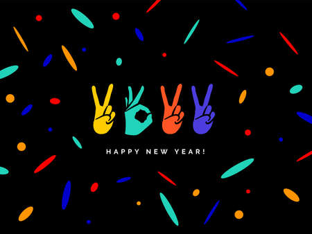 Happy New Year 2022 logo text design. Concept design with fingers. Sign of Victory and sign of OK. Freedom, good, peace, excellent, Like. Best wishes. Great ides. Color elements Ilustrace