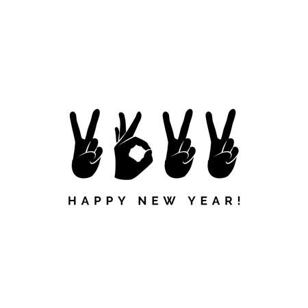 Concept design with fingers. Happy New Year 2022 logo text design. Sign of Victory and sign of OK. Freedom, good, peace, excellent, like. Best wishes. Unusual modern presentation. Great ides.