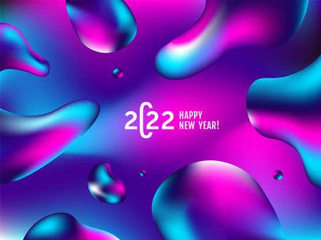 2022 modern minimal logo text design. Fluid colors banner. Liquid Background fluid. 2022 modern minimal logo text design. Stylish Happy New Year typography. Concept design.