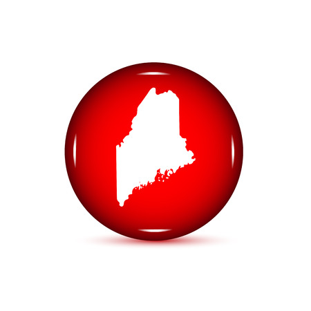 Map Of The US State Of Maine Red Button On A White Background - Us map all white red background
