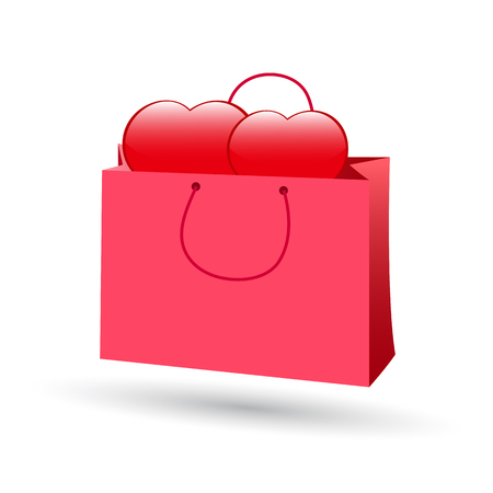 Two hearts in a gift bag. Valentines Day.