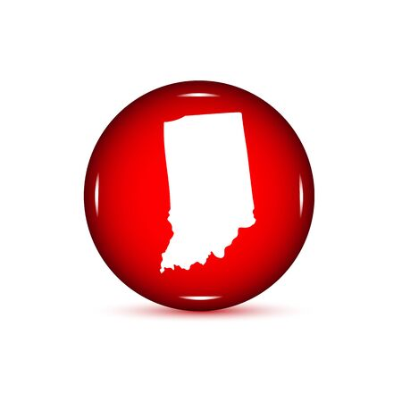 Map of the U.S. state of Indiana. Red button on a white backgrou