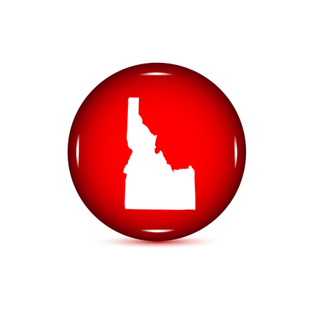 Map Of The US State Of Idaho Red Button On A White Background - Us map all white red background