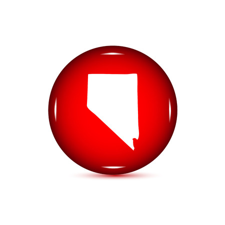 Map of the U.S. state of Nevada. Red button on a white background