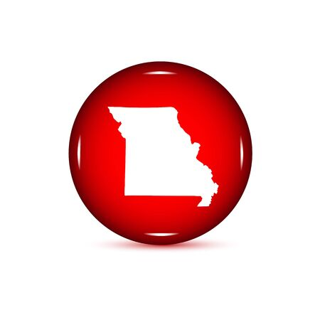 Map Of The US State Of Missouri Red Button On A White - Us map all white red background