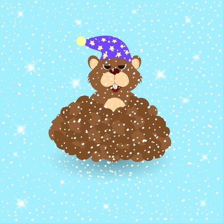 Marmot on snowy winter background. Card Groundhog Day.