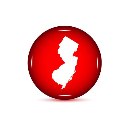Map of the U.S. state of New Jersey. Red button on a white background.