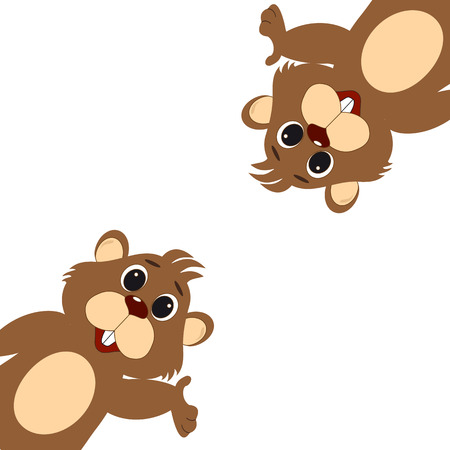 Template for greeting card on Groundhog Day  イラスト・ベクター素材
