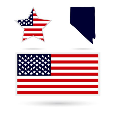 nevada: Map of the U.S. state of Nevada on a white background. American flag, star. Illustration