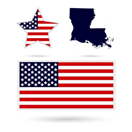 louisiana: Map of the U.S. state of Louisiana on a white background. American flag, star.