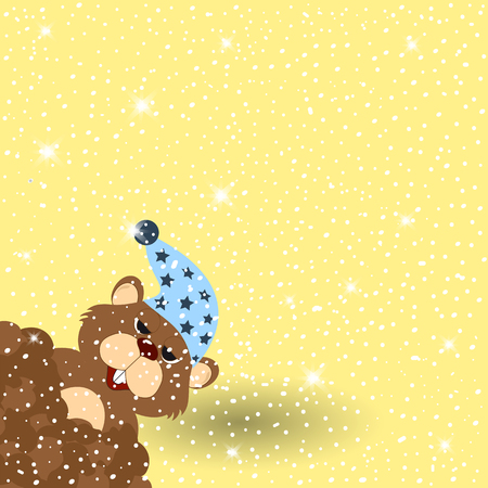 marmot: Marmot on snowy background with shadow