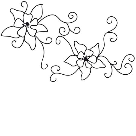 Pattern from curls and flowers. Illustration