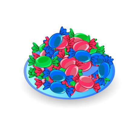 Colorful candy in a dish Illustration