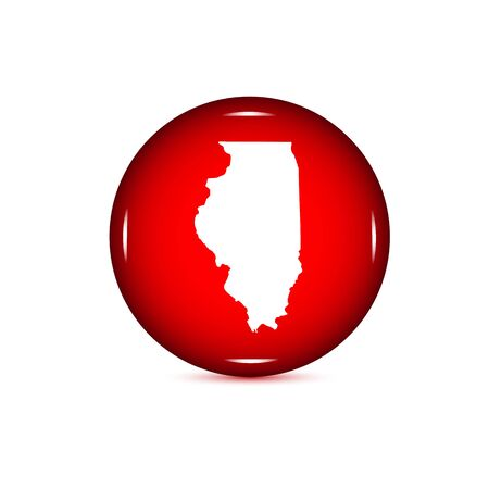 Map of the U.S. state of Illinois. Red button Illustration