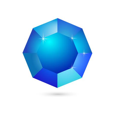 sapphire gemstone: Icon gemstone sapphire on a white background