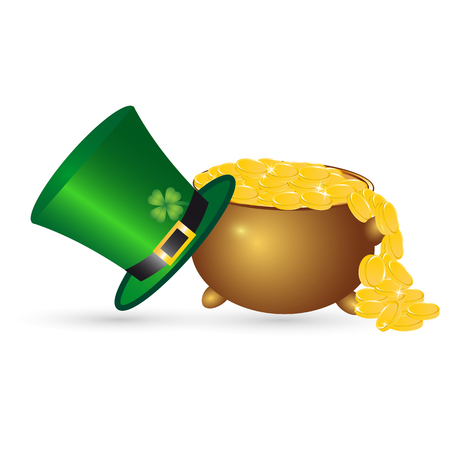gold buckle: Pot with coins cylinder. St.Patrick s Day