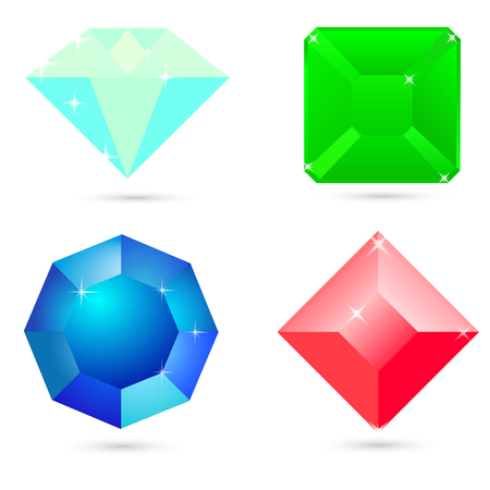 A set of jewels icons on white background Illustration