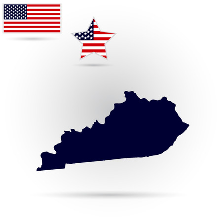 federation: Map of the U.S. state of Kentucky on a gray background. American flag, star. Illustration
