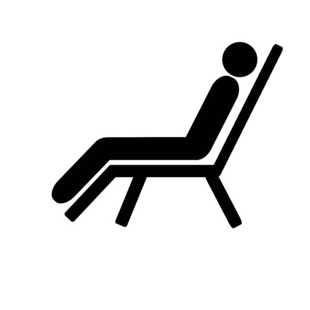 Flat icon Beach chair. People in the beach chair