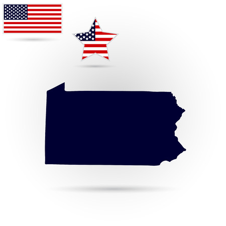 pennsylvania: Map of the U.S. state of Pennsylvania on a gray background. American flag, star.