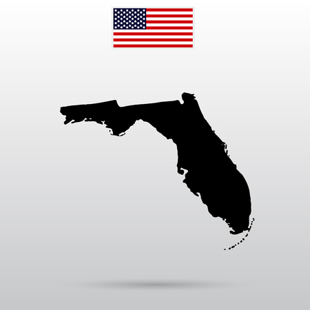 Map of the U.S. state of Florida. American flag